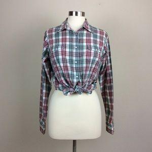Wrangler plaid pearl snap western shirt